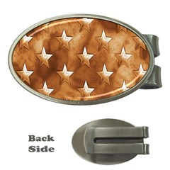 Stars Brown Background Shiny Money Clips (oval)  by Sapixe