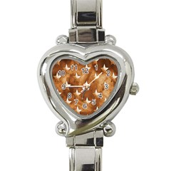 Stars Brown Background Shiny Heart Italian Charm Watch by Sapixe