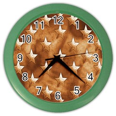 Stars Brown Background Shiny Color Wall Clocks by Sapixe