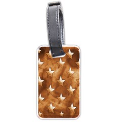 Stars Brown Background Shiny Luggage Tags (two Sides)