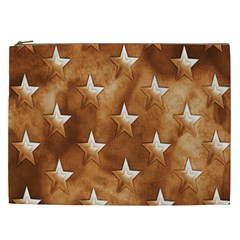 Stars Brown Background Shiny Cosmetic Bag (xxl)  by Sapixe
