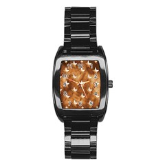 Stars Brown Background Shiny Stainless Steel Barrel Watch