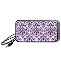Damask1 White Marble & Purple Leather (r) Portable Speaker by trendistuff