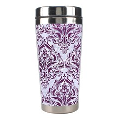 Damask1 White Marble & Purple Leather (r) Stainless Steel Travel Tumblers by trendistuff