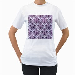 Damask1 White Marble & Purple Leather (r) Women s T Shirt (white)