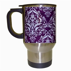 Damask1 White Marble & Purple Leather Travel Mugs (white) by trendistuff
