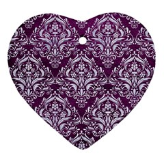 Damask1 White Marble & Purple Leather Heart Ornament (two Sides)