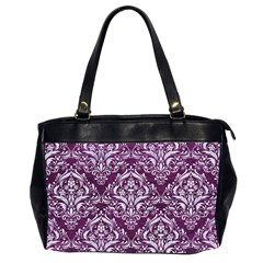 Damask1 White Marble & Purple Leather Office Handbags (2 Sides)  by trendistuff