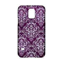 Damask1 White Marble & Purple Leather Samsung Galaxy S5 Hardshell Case  by trendistuff