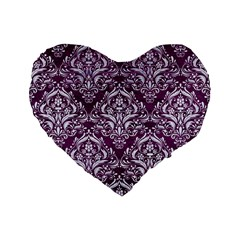Damask1 White Marble & Purple Leather Standard 16  Premium Flano Heart Shape Cushions by trendistuff