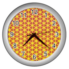 Texture Background Pattern Wall Clocks (silver)  by Sapixe