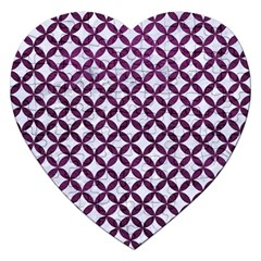 Circles3 White Marble & Purple Leather (r) Jigsaw Puzzle (heart) by trendistuff