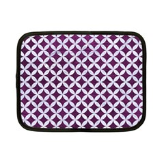 Circles3 White Marble & Purple Leather Netbook Case (small)
