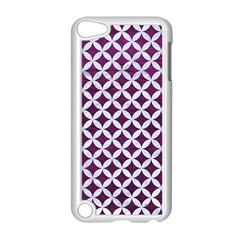 Circles3 White Marble & Purple Leather Apple Ipod Touch 5 Case (white) by trendistuff