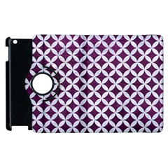 Circles3 White Marble & Purple Leather Apple Ipad 3/4 Flip 360 Case by trendistuff