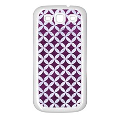 Circles3 White Marble & Purple Leather Samsung Galaxy S3 Back Case (white) by trendistuff