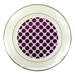 Circles2 White Marble & Purple Leather (r) Porcelain Plates by trendistuff