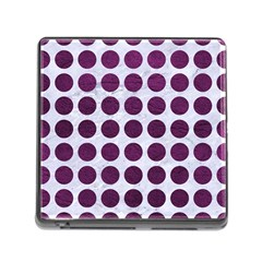 Circles1 White Marble & Purple Leather (r) Memory Card Reader (square) by trendistuff
