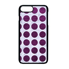 Circles1 White Marble & Purple Leather (r) Apple Iphone 8 Plus Seamless Case (black)