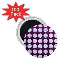 Circles1 White Marble & Purple Leather 1 75  Magnets (100 Pack)