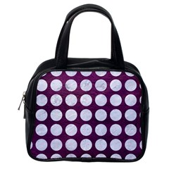 Circles1 White Marble & Purple Leather Classic Handbags (one Side) by trendistuff