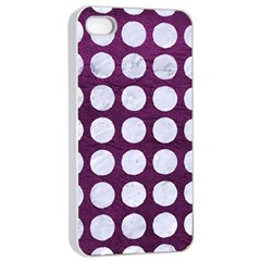 Circles1 White Marble & Purple Leather Apple Iphone 4/4s Seamless Case (white) by trendistuff