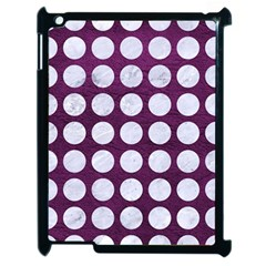 Circles1 White Marble & Purple Leather Apple Ipad 2 Case (black) by trendistuff