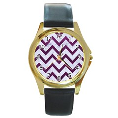 Chevron9 White Marble & Purple Leather (r) Round Gold Metal Watch by trendistuff