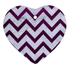 Chevron9 White Marble & Purple Leather (r) Heart Ornament (two Sides)