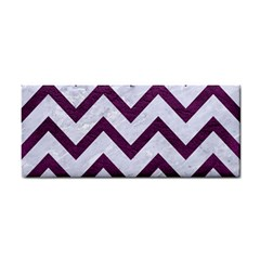 Chevron9 White Marble & Purple Leather (r) Cosmetic Storage Cases