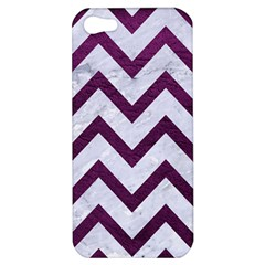 Chevron9 White Marble & Purple Leather (r) Apple Iphone 5 Hardshell Case by trendistuff