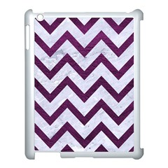 Chevron9 White Marble & Purple Leather (r) Apple Ipad 3/4 Case (white) by trendistuff