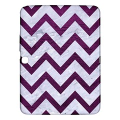 Chevron9 White Marble & Purple Leather (r) Samsung Galaxy Tab 3 (10 1 ) P5200 Hardshell Case  by trendistuff