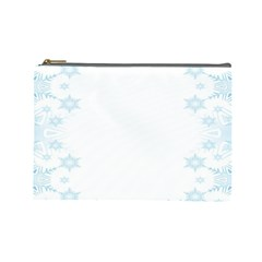 The Background Snow Snowflakes Cosmetic Bag (large)  by Sapixe