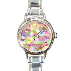 Mosaic Background Cube Pattern Round Italian Charm Watch by Sapixe