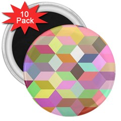Mosaic Background Cube Pattern 3  Magnets (10 Pack)  by Sapixe
