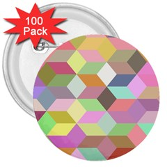 Mosaic Background Cube Pattern 3  Buttons (100 Pack)  by Sapixe