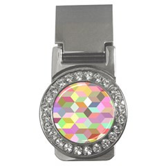 Mosaic Background Cube Pattern Money Clips (cz)
