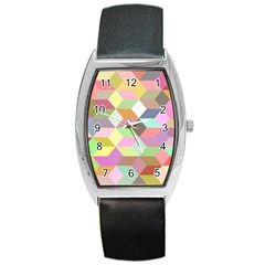 Mosaic Background Cube Pattern Barrel Style Metal Watch by Sapixe