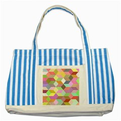 Mosaic Background Cube Pattern Striped Blue Tote Bag by Sapixe