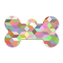 Mosaic Background Cube Pattern Dog Tag Bone (two Sides) by Sapixe