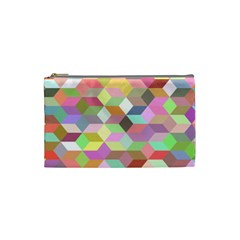 Mosaic Background Cube Pattern Cosmetic Bag (small)  by Sapixe