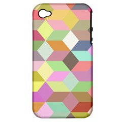 Mosaic Background Cube Pattern Apple Iphone 4/4s Hardshell Case (pc+silicone) by Sapixe