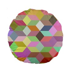 Mosaic Background Cube Pattern Standard 15  Premium Round Cushions by Sapixe