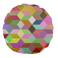 Mosaic Background Cube Pattern Large 18  Premium Round Cushions by Sapixe