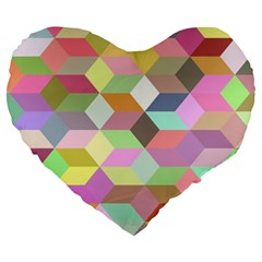 Mosaic Background Cube Pattern Large 19  Premium Heart Shape Cushions by Sapixe