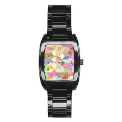 Mosaic Background Cube Pattern Stainless Steel Barrel Watch by Sapixe
