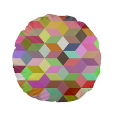 Mosaic Background Cube Pattern Standard 15  Premium Flano Round Cushions by Sapixe