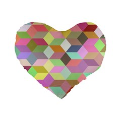 Mosaic Background Cube Pattern Standard 16  Premium Flano Heart Shape Cushions by Sapixe