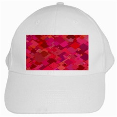 Red Background Pattern Square White Cap